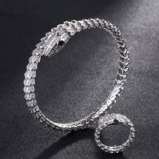 Serpent bracelet high Fashion inlay cubic Zircon Bangle and Ring set white gold