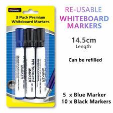 18pk Premium White Board Markers Black Blue Marker Office School Home 13cm FW