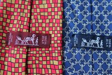 331)  LOT OF 2 HERMES PARIS  MEN'S  TIE 100% SILK  MADE IN FRANCE