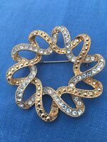 Mothers Gift Vintage Jewellery Brooch Gold Silver Looped Sparkly Flower Circle