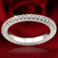 18K GOLD GF SIMULANT DIAMONDS ANNIVERSARY ETERNITY WEDDING WOMEN THIN BAND RINGS