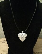 Silver Heart Locket Photo Pendant Necklace - Free Shipping