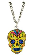 Day of the Dead Dia De Los Muertos Yellow Epoxy Necklace With Sugar Skull