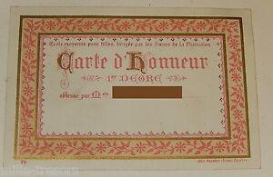 Document scolaire CARTE D'HONNEUR 1er degré Ecole pour Filles Soeurs Visitation