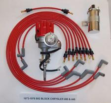 CHRYSLER 440 1973-78 RED Small ELECTRONIC Distributor +45K Coil+Spark Plug Wires