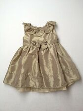 Baby Girl Jenny & Me Metallic Gold Holiday Party Portrait Dress Size 18 Months