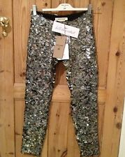 ISABEL MARANT For H&M SEQUINED TROUSERS Leggings UK12 EU38 US8 Dark Grey Silver