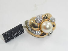 Dazzling 80s Signed Swarovski S.A.L. Pave + Faux Pearl Ring * Adjustable