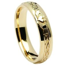 New 10ct Yellow Gold Irish Celtic Claddagh 4.5mm Men's Wedding Band Ring Boxed