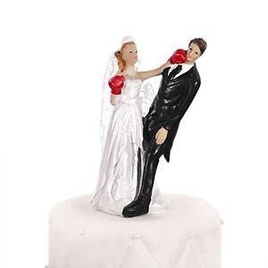 Boxing Bride Comical Cake Topper - Bride & Groom Wedding Cake Topper