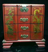 Chinese Painted Lacquer Dragon Phoenix wood 4 layer Large Jewellery Box & Mirror