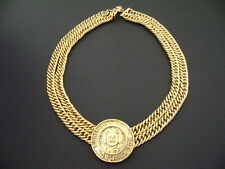 Authentic Chanel Vintage Gold '31 Rue Cambon' Medal w/ Double Chain Choker
