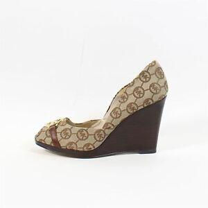MICHAEL MICHAEL KORS Brown Cotton Peep Toe Wedges, UK 3 US 6 EU 36