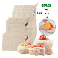 Reusable Mesh Produce Bags Fruit Vegetable Storage Shopping Eco Friendly US