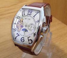 Para hombres Cuero Marrón Estilo Vintage XL Tonneau automático 24hr Reloj fase lunar