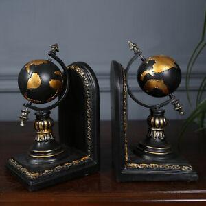 Vintage Design Globe Bookends 1 Pair Book End Home Office Bookcase Desk Decor