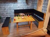 barbie doll wooden pub kitchen dining corner bench set  dolls