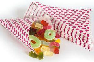 50 Papiertüten Spitztüten Herzen pink 19 cm Dreieckstüten CandyBar für Feier
