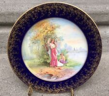Antique Redon Limoges Lady Eating Apple Cherub Cabinet Portrait Plate  Ornate HP