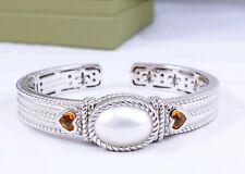 New Judith Ripka Sterling Silver Pearl Citrine Yellow Topaz Cuff Bracelet