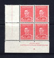 1938 **MUH** KGVI 2d SCARLET C/n BLOCK of 4 with John ASH IMPRINT & PIP - SUPERB