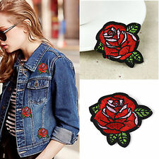 5PCS Red Rose Flower Embroidery Applique Cloth DIY Sewing & Iron on Patch Badge