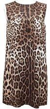 DOLCE & GABBANA Dress Brown Leopard Sleeveless Cotton Sz 46