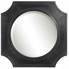 "Rustic Copper Bronze Octagon Shape Wall Mirror | 27"" Square Industrial Nail Head"