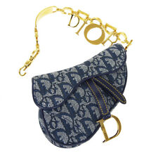 Christian Dior Trotter Saddle Mini Pouch MU0060 Navy Gray Canvas Leather 36622