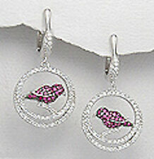 """6g Solid Sterling Silver 1.38"""" Sparkly Red czs Bird Earrings Posts & Omega Clips"""