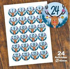 24 Aufkleber 1-24 Advent Adventskalender Zahl Weihnachten Fest Rentier Sticker 4
