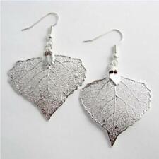 unique cottonwood leaf silver leaf earrings - real leaf jewellery