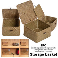 With Lid Seagrass Organizer Sundries Storage Basket Hand Woven Decorative Home