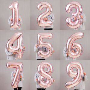 """40"""" LIGHT ROSE GOLD Number Foil Helium Balloon for Birthday Party Decoration"""