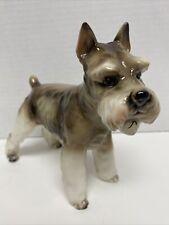 Vintage Shafford Schnauzer Dog Porcelain Figurine. Blue Ribbon Collection.