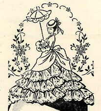 Lady with Parasole & Crinoline Skirts for Pillow Cases 5264 repo hand embroidery