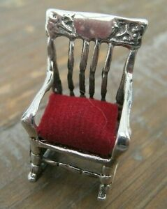 Miniature Antique Style Sterling Silver Rocking Chair Pin Cushion