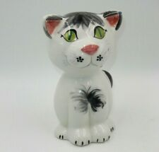 HAND-PAINTED CERAMIC CAT PIGGY BANK / COIN BANK - MADE IN ITALY
