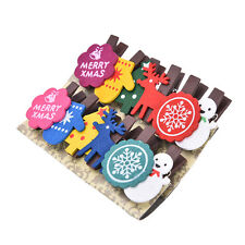 Set of 12 Christmas Snowman Wooden Pegs Paper Photo Clip With Linen String FAD