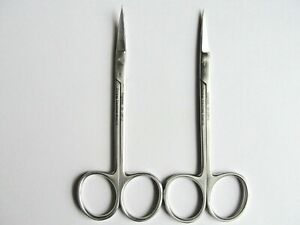 2 surgical dissection scissors 11.5 cm 1 curved 1 straight precise fine cutting