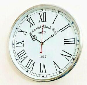Handmade 12 Inch Wall Clock Wooden Brass Deep Glass Wall Gift Item