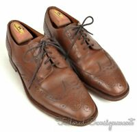 STEED Solid Brown Leather Mens Classic Wingtip Dress Shoes - 10.5 D