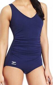 Speedo Navy Blue Women's Size 16 One-Piece Gathered V-Neck Swimwear $84 #332