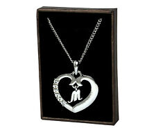 """Initial Heart Necklace """"M"""" - 18ct White Gold Plated - Birthday Gifts For Her"""