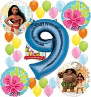 Moana Party Supplies Birthday Decorations Number Balloon Bundle for (9th Birt...
