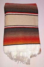 "Mexican Blanket Serape Tan,Brown & Orange stripes white fringe X-LARGE 82"" X 62"""