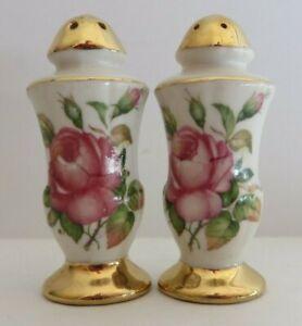 Antique Salt Pepper Shaker Set Ceramic Pink Rose Gold Trim Hand Date 1947 #11103