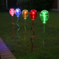 5PC Solar Power Novelty Balloon LED Stake Lights | Garden Party Summer Outdoor
