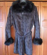 DENNIS BASSO Python Print Faux Suede Coat with Faux Fur Trim - Small $180 Retail