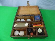 Antique Wood Box First Aid Kit Medical Supplies Jars Bottles Tin Bandages